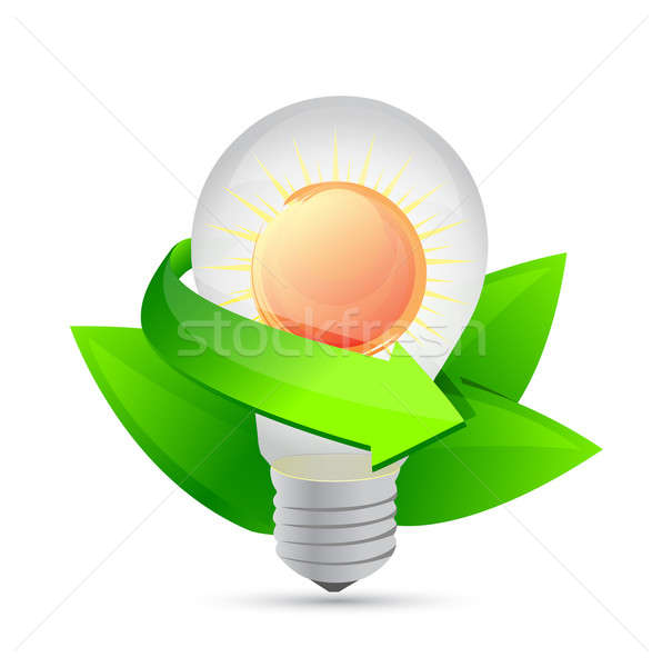 electric light bulb symbolizing solar energy and nature illustra Stock photo © alexmillos