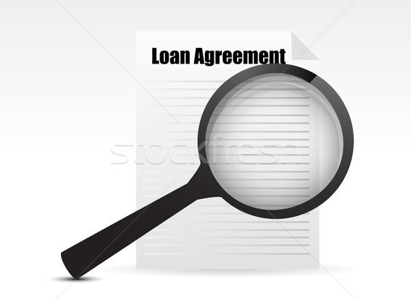 Kölcsön megállapodás nagyító üzlet illusztráció terv Stock fotó © alexmillos