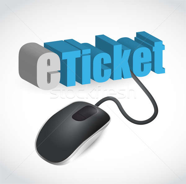 the word e-ticket connected to a computer mouse illustration des Stock photo © alexmillos