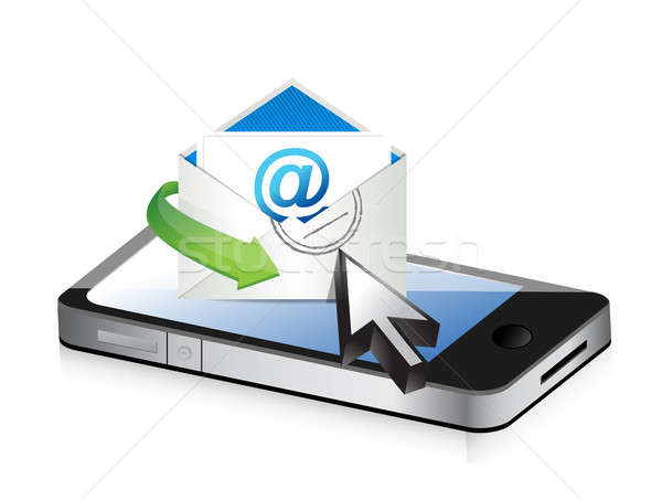 contact us using your smartphone concept illustration design ove Stock photo © alexmillos