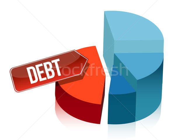 Debt pie chart illustration design over white Stock photo © alexmillos