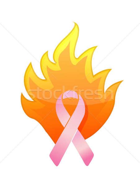 cancer pink burning ribbon illustration design over white Stock photo © alexmillos