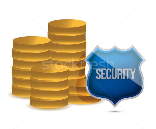 Moedas escudo segurança ilustração projeto branco Foto stock © alexmillos
