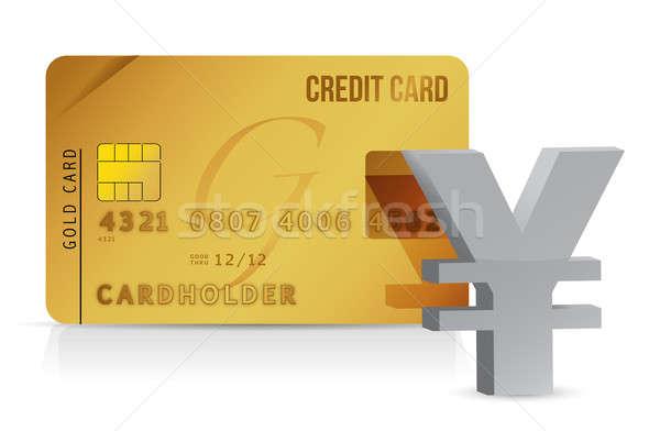 Yen kredi kartı örnek para alışveriş imzalamak Stok fotoğraf © alexmillos