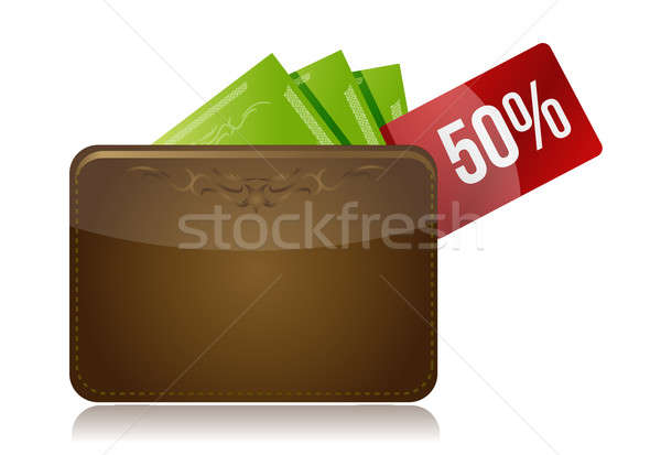 Wallet with a percentage discount label  Stock photo © alexmillos