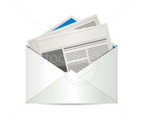 Mail newspaper illustration design Stock photo © alexmillos