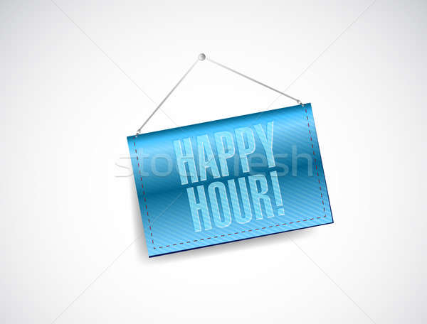Happy hour hanging banner illustration Stock photo © alexmillos