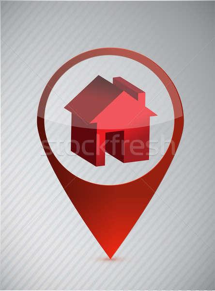 Casa ubicación signo carretera construcción casa Foto stock © alexmillos