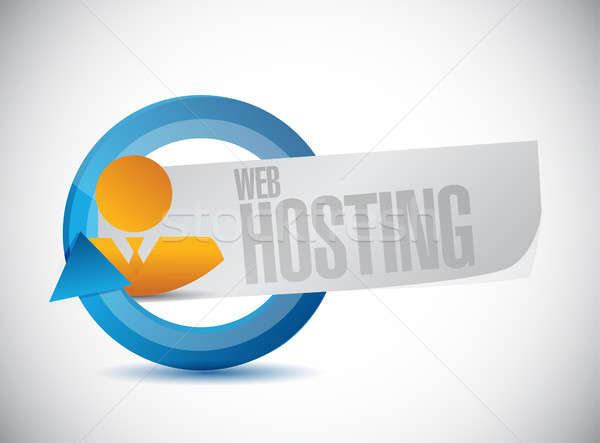 Web hosting mensen cyclus teken illustratie Stockfoto © alexmillos