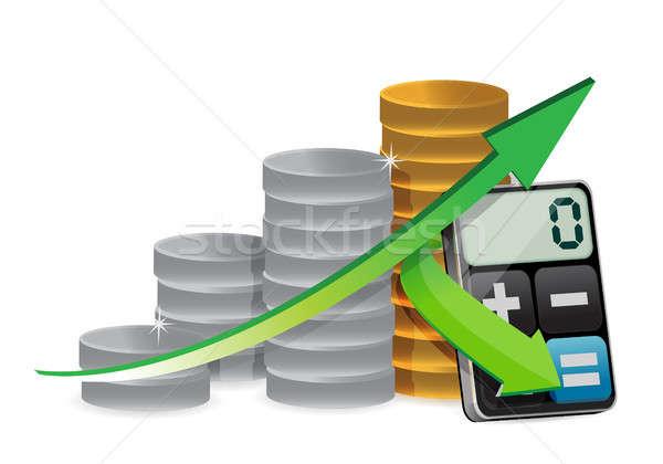 coin graph and modern calculator Stock photo © alexmillos
