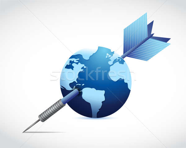 globe pierced with a dart. illustration Stock photo © alexmillos