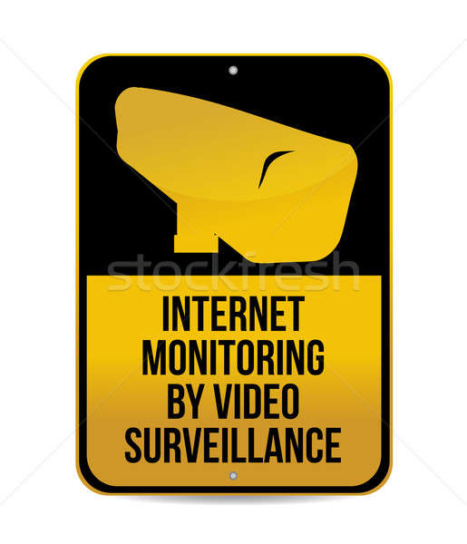 internet monitoring by video surveillance sign Stock photo © alexmillos