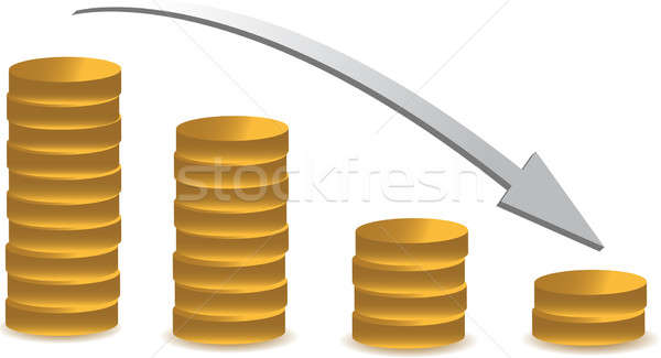 coin graph illustration falling over a white background Stock photo © alexmillos