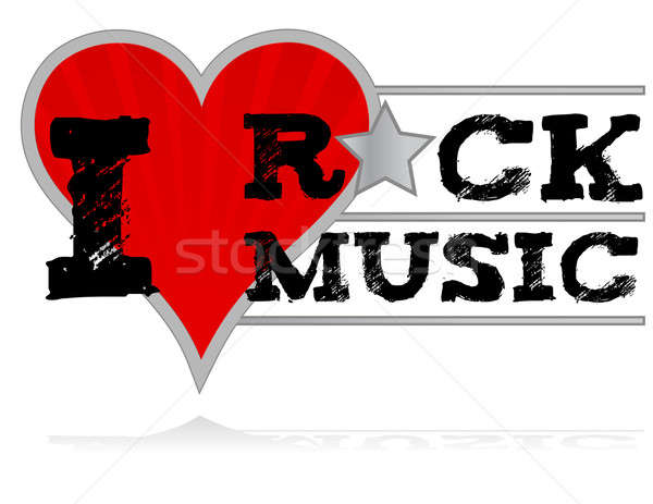 I love rock music design heart over a white background. Stock photo © alexmillos