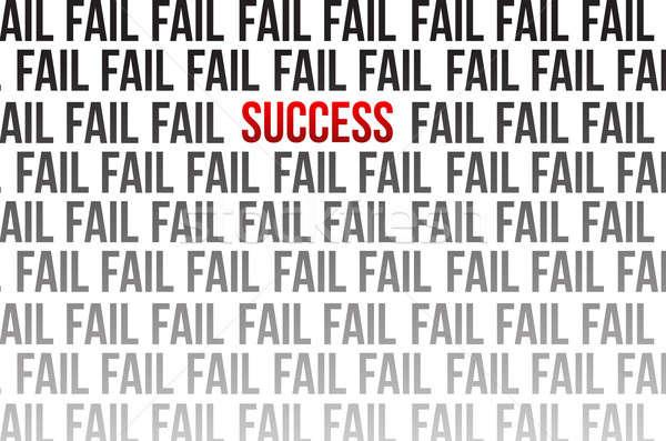 Succes rond mislukking illustratie ontwerp witte Stockfoto © alexmillos