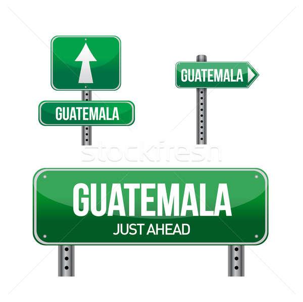 Guatemala vidéki út felirat illusztráció terv fehér Stock fotó © alexmillos