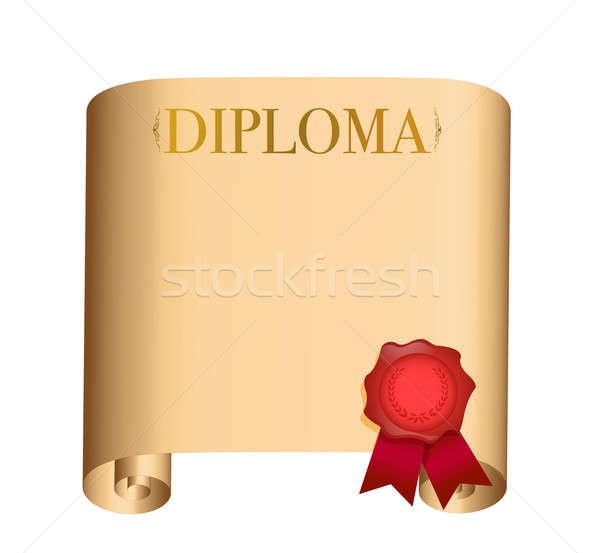 diploma Old scroll with a wet seal illustration design over whit Stock photo © alexmillos