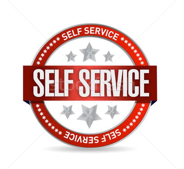 self service seal stamp illustration design over a white backgro Stock photo © alexmillos