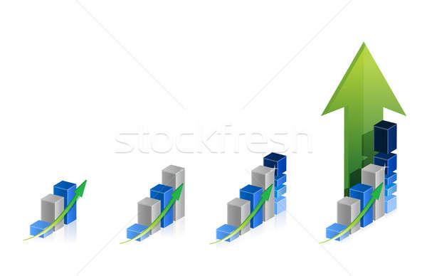 Grafikon lépcső illusztráció terv fehér absztrakt Stock fotó © alexmillos