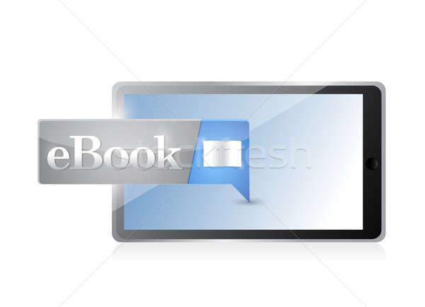 Tableta ebook icono botón azul descargar Foto stock © alexmillos
