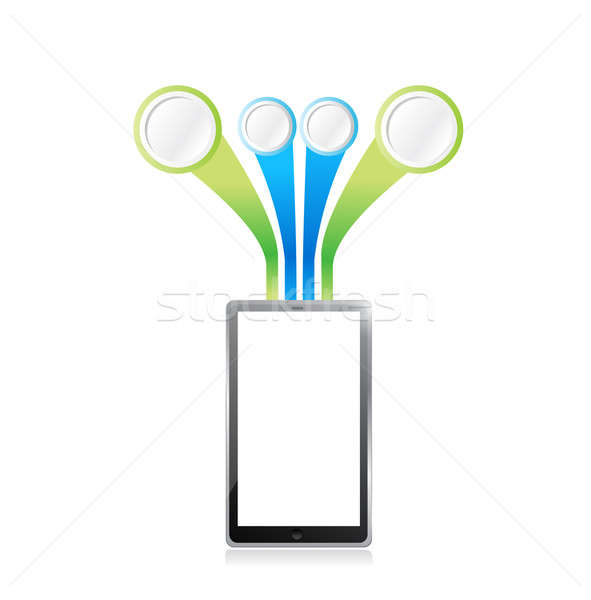 tablet Infographic template illustration design isolated over wh Stock photo © alexmillos