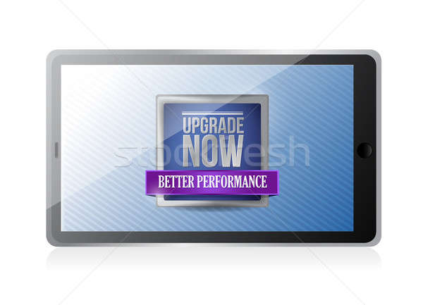 tablet with an upgrade now illustration design over white Stock photo © alexmillos