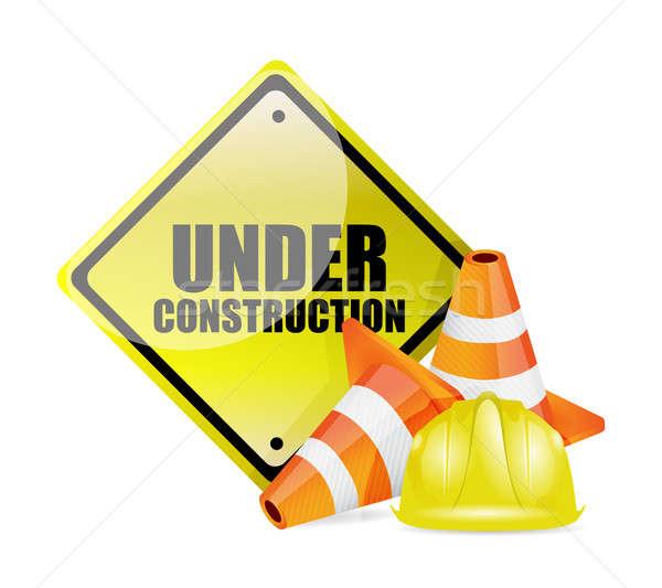 under construction sign illustration design over white Stock photo © alexmillos