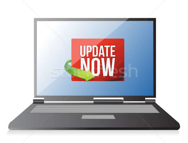 Update now label on a laptop screen illustration design over whi Stock photo © alexmillos