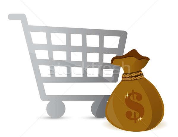 Stock photo: Shopping Cart & Money Bag Sign illustration design over white