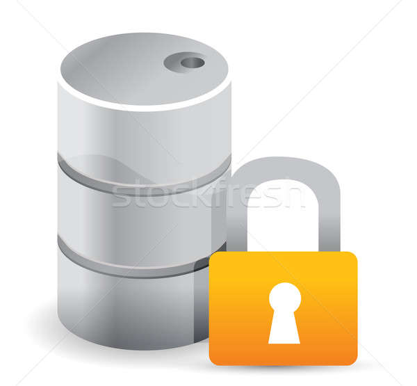 oil protected by a padlock illustration design over white backgr Stock photo © alexmillos