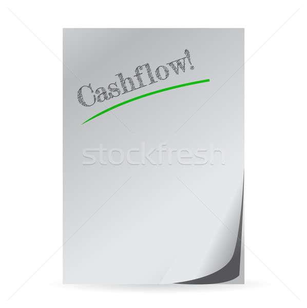 word cashflow written on a white paper illustration design Stock photo © alexmillos