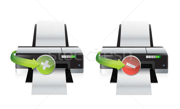 Printer minus iconen illustratie ontwerp Stockfoto © alexmillos