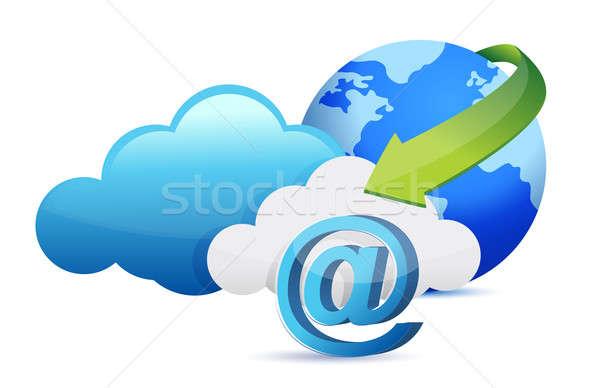 at sign cloud computing moving concept illustration design Stock photo © alexmillos
