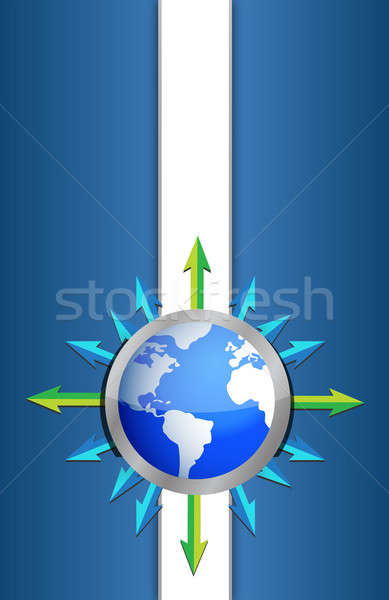 globe background design pointing to different destinations arrow Stock photo © alexmillos