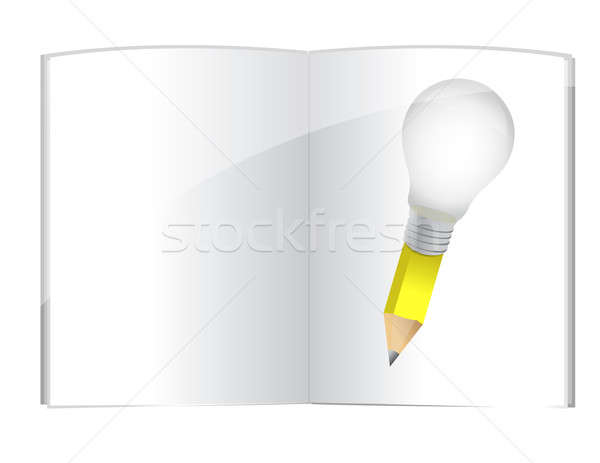 Könyv ötlet ceruza üveg lámpa energia Stock fotó © alexmillos