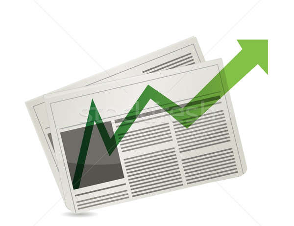 Positive Market newspaper results illustration design over white Stock photo © alexmillos