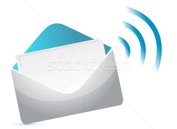 Busta icona rss segno internet cuore Foto d'archivio © alexmillos
