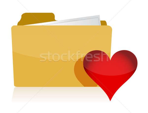 Amarillo carpeta rojo corazón ilustración diseno Foto stock © alexmillos