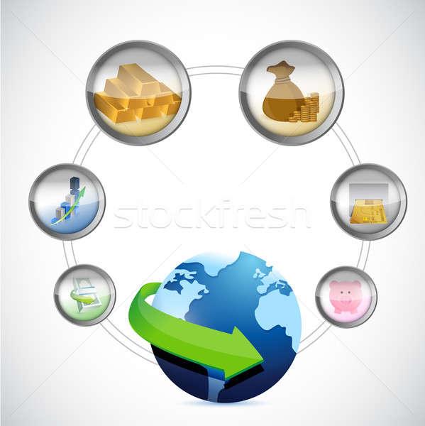 мира символ денежный иконки цикл бизнеса Сток-фото © alexmillos