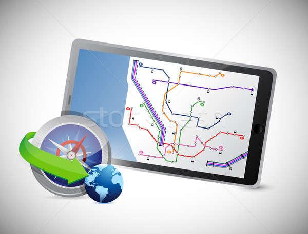 Stock fotó: Iránytű · GPS · tabletta · számítógép · autó · utca