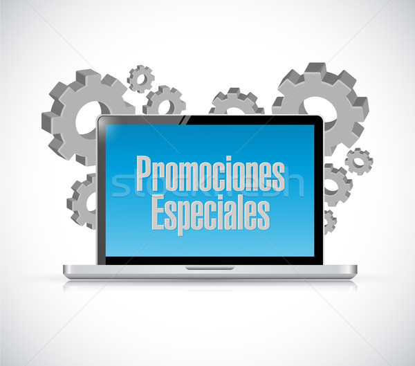 special promotions in Spanish computer sign Stock photo © alexmillos