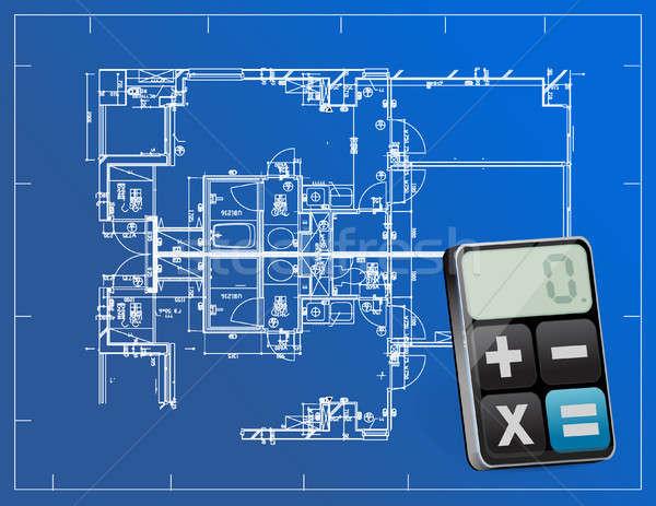 blueprints and modern calculator Stock photo © alexmillos
