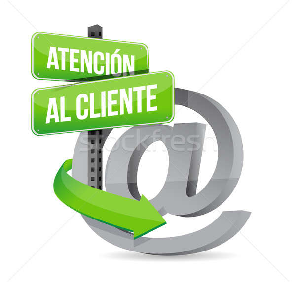 spanish customer support at sign illustration Stock photo © alexmillos