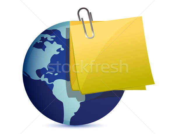a notepad page reminder on a world globe Stock photo © alexmillos