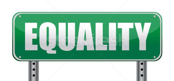 Równość znak drogowy odizolowany biały drogowego sukces Zdjęcia stock © alexmillos