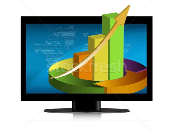 Graphics flatscreen illustratie ontwerp geïsoleerd witte Stockfoto © alexmillos