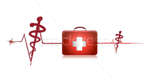 cardiogram with the first-aid set on a white background Stock photo © alexmillos