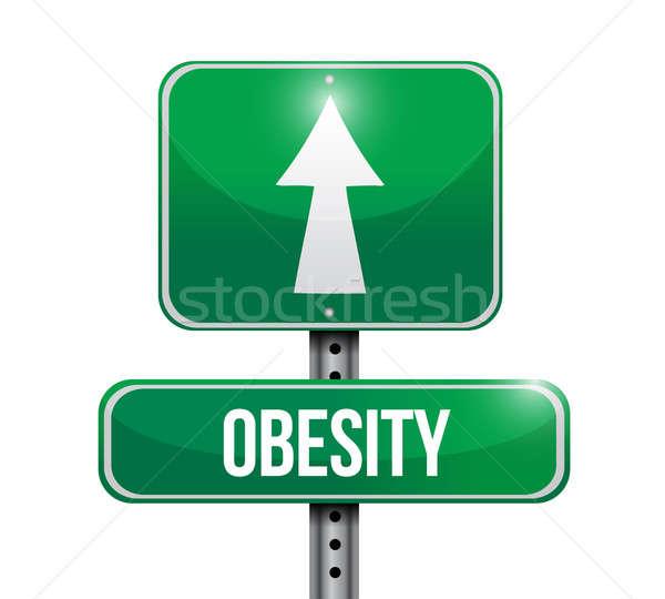Elhízottság jelzőtábla illusztráció terv fehér gyerekek Stock fotó © alexmillos