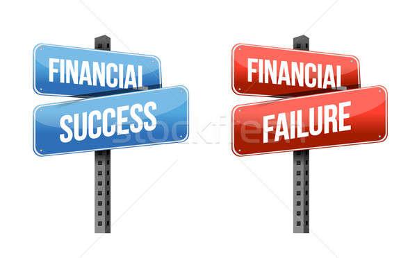 Financieros éxito fracaso signos ilustración diseno Foto stock © alexmillos