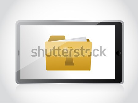 tablet and secured folder illustration design over a white backg Stock photo © alexmillos